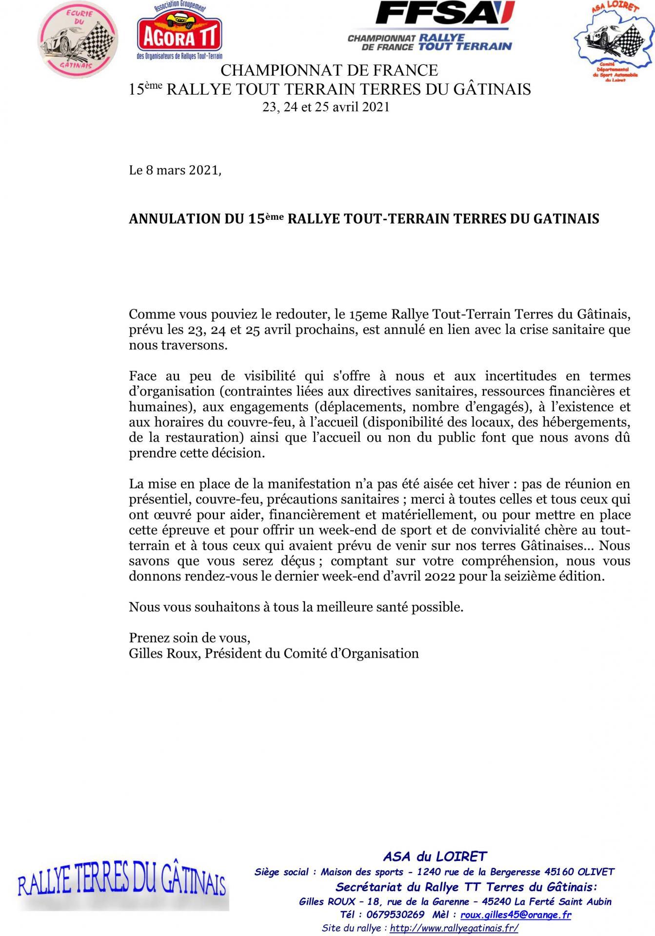 Communique annulation rtt terres du gatinais 2021